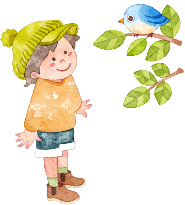 青い鳥をみつめる子ども